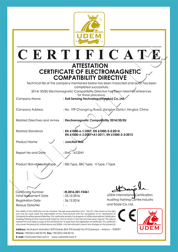 OIML certificate. Digital junction box with lightning protection